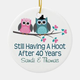 40th Wedding Anniversary Personalized Gift Ceramic Ornament