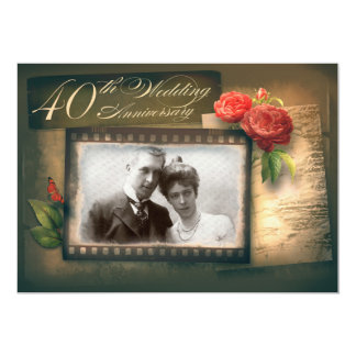 40th wedding anniversary photo vintage invitations