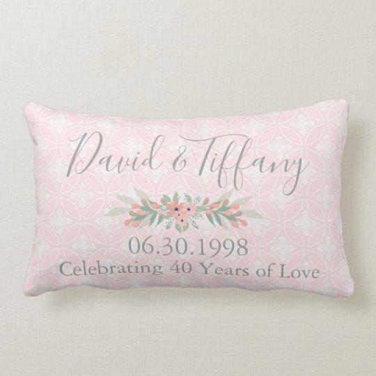 40th Wedding Anniversary Pink and Silver Lumbar Cushion