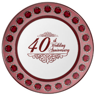40th Wedding Anniversary Porcelain Plate