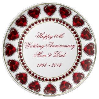 40th Wedding Anniversary Porcelain Plate