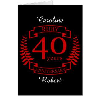 40th Wedding ANNIVERSARY RUBY Card