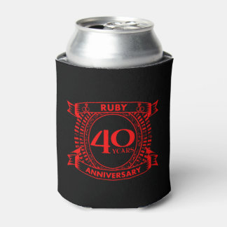 40th wedding anniversary ruby crest can cooler