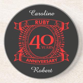 40th wedding anniversary ruby crest coaster