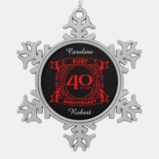 40th wedding anniversary ruby crest snowflake pewter christmas ornament