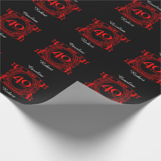 40th wedding anniversary ruby crest wrapping paper