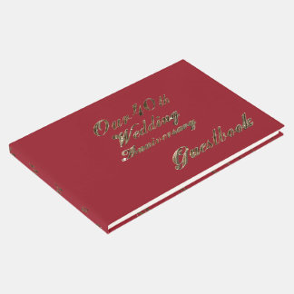 40th Wedding Anniversary Ruby Gold Typography Guest Book