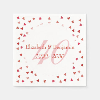 40th Wedding Anniversary Ruby Hearts Confetti Disposable Serviette