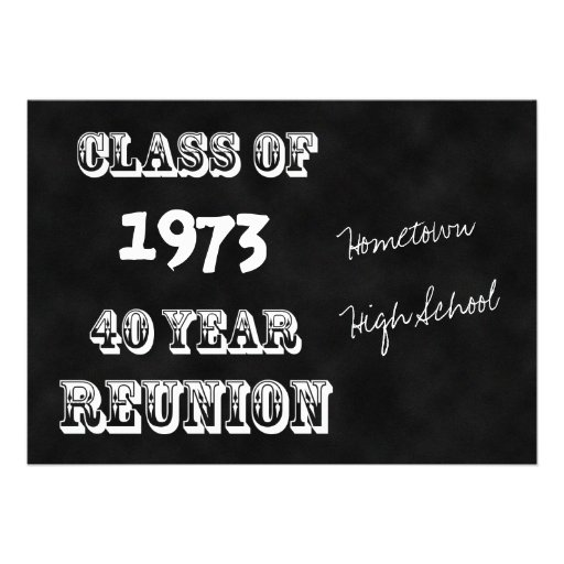 40th Year Class Reunion Invitation Personalized Announcement