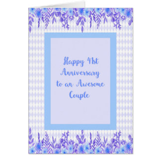 41st Anniversary Card in Blue with Floral Borders