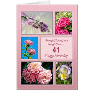 41st birthday, beautiful flowers card