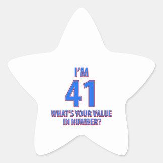 41st birthday designs star sticker