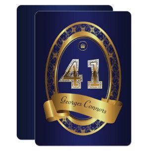 41stbirthday Party Woman Manelegant Color Invitation
