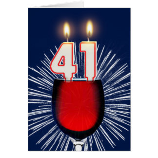 41st Birthday with wine and candles Card
