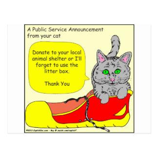 420 donate to animal shelter Cartoon Postcard