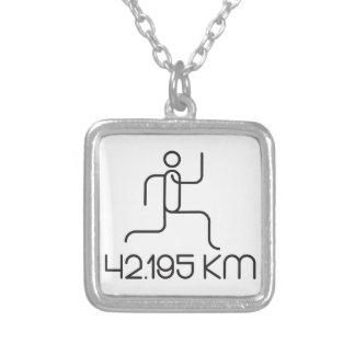 42.195 km marathon distance silver plated necklace