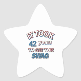 42 year birthday designs star stickers