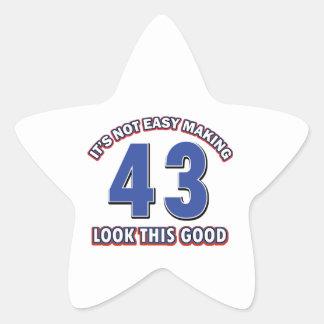 43 years Old birthday designs Star Sticker