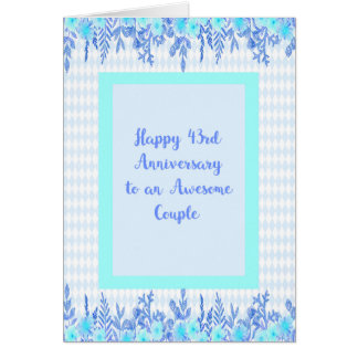 43rd Anniversary Card in Blue and Teal