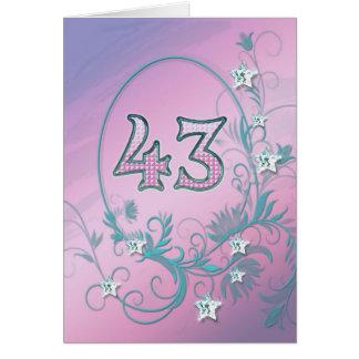 43rdd Birthday card with diamond stars