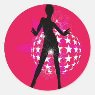 447691 WOMAN DANCING DISCO CLUB FUN LOUD MUSIC STA ROUND STICKER