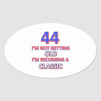 44 birthday designs oval sticker