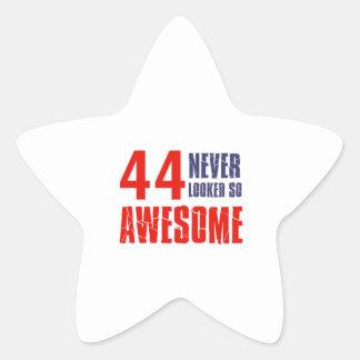44 year  birthday designs star sticker