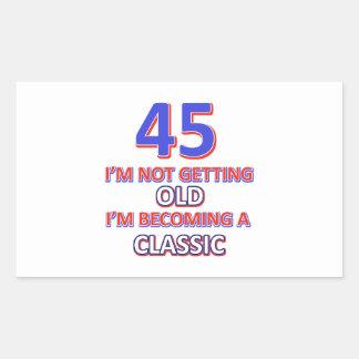 45 birthday designs rectangular sticker
