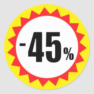 45 percent sale discount stickers red white yellow