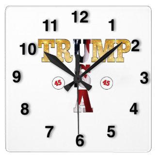 45 POTUS Trump USA Gold Glitter Flag Color Square Wall Clock