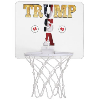 45 President Trump USA Gold Glitter Flag Color Mini Basketball Hoop