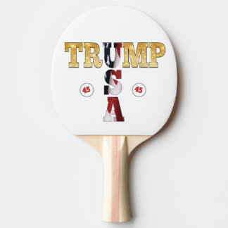 45 President Trump USA Gold Glitter Flag Color Ping Pong Paddle