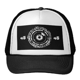 45 RPM. Vinyl Record Black and White Distressed Cap
