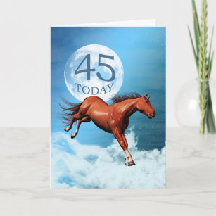 45 Years Old Birthday Card With Spirit Horse