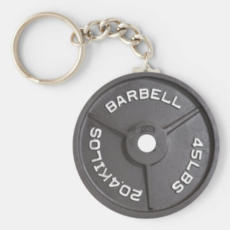 45lb Plate - Barbell Basic Round Button Key Ring