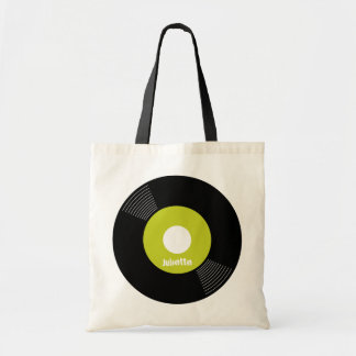 45s Record Tote (Lime) CUSTOMIZABLE Budget Tote Bag