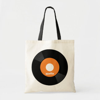 45s Record Tote (Orange) CUSTOMIZABLE Budget Tote Bag