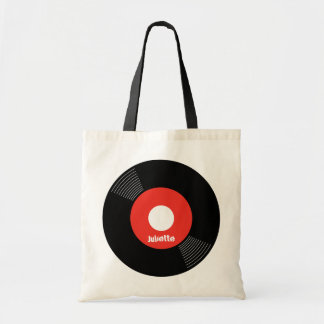 45s Record Tote (Red) CUSTOMIZABLE Budget Tote Bag