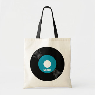 45s Record Tote (Teal) CUSTOMIZABLE