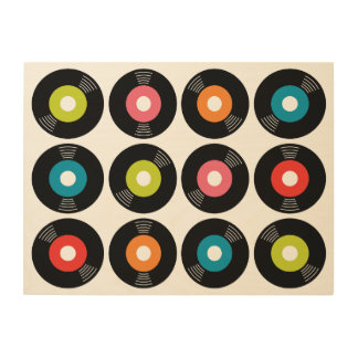 45s Record Wood Sign 24x18 Wood Canvas