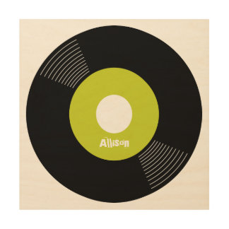 45s Record Wood Sign Lime 12x12 CUSTOMIZABLE Wood Canvases