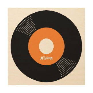 45s Record Wood Sign Orange 12x12 CUSTOMIZABLE Wood Canvases