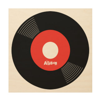 45s Record Wood Sign Red 12x12 CUSTOMIZABLE Wood Prints