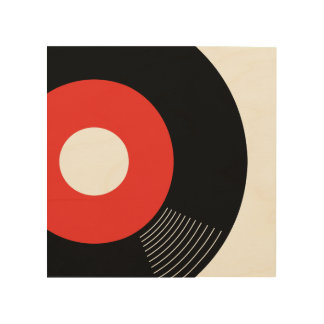 45s Record Wood Sign Red 8x8 Wood Canvas