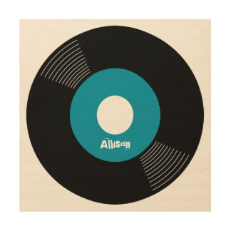 45s Record Wood Sign Teal 12x12 CUSTOMIZABLE Wood Canvases
