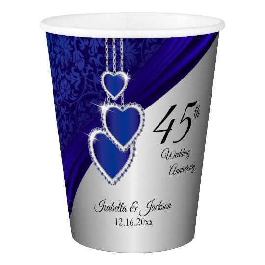 45th / 65th Sapphire Wedding Anniversary Design 2 Paper Cup