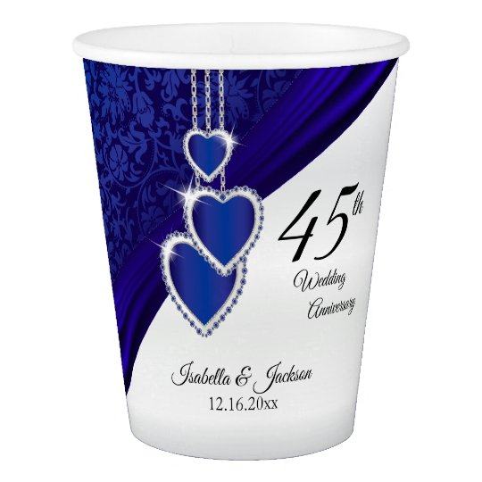 45th / 65th Sapphire Wedding Anniversary Design Paper Cup