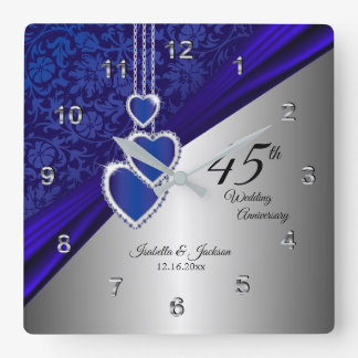 45th / 65th Sapphire Wedding Anniversary Keepsake Square Wall Clock