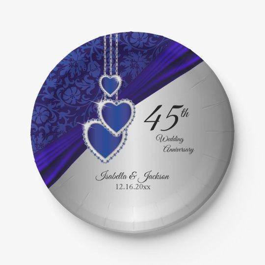 45th / 65th Sapphire Wedding Anniversary Paper Plate