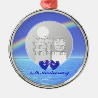 45th Anniversary Sapphire Hearts (photo frame) Metal Ornament